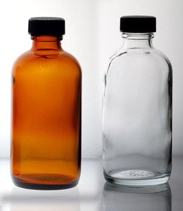 (36 ct) 16 oz (480 ml) Amber Boston Round Glass Bottles with Caps (Empty)