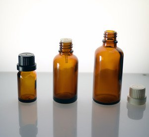 (144 ct) 1 oz (30 ml) Amber Glass European Dropper Bottles with Caps and Orifice Reducers