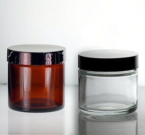 (3 ct) 2 oz CLEAR Glass Jars with Black Lids (Empty) - Wholesale Glass Jars
