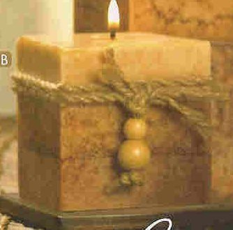RUSTIC WOOD SQUARED CANDLE (#39242 )