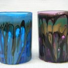 Drip-Painted Glass Candle Holder