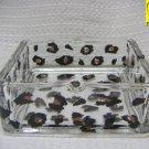 Leopard Print Square Glass Ashtray