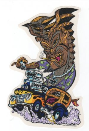 Hot Rod Tiki Sticker (S-80)