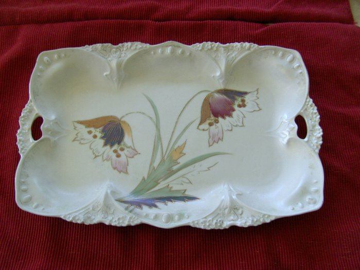 Antique Platter Hand Painted ? Czech glass