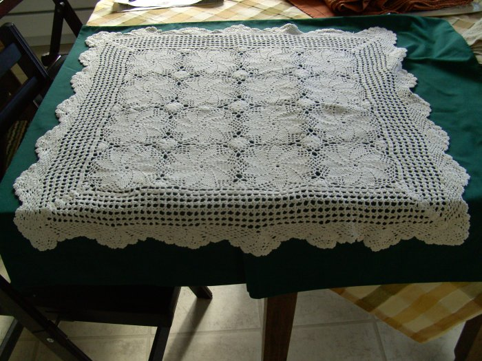 Vintage White HandCrocheted Doily/Table Mat 28 inches