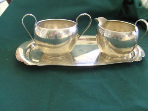 Wallace Sterling Silver Creamer & Sugar with Tray.