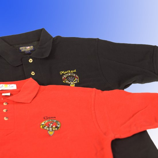 Scottish Clan crest or National image Embroidered on Golf shirt