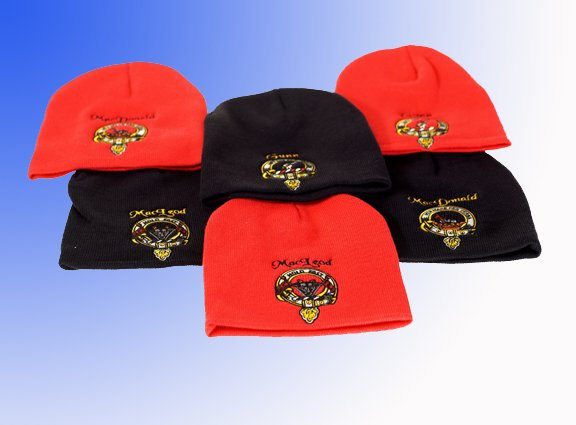 Scottish Clan crest or National image in full colour embroidered on Toque