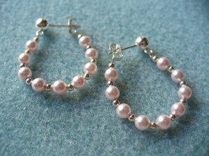 Pink Pearl Hoop Earrings