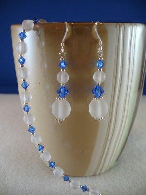 Frosted Elegance Bracelet & Earrings Set