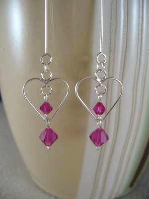 Fuschia Heart Earrings