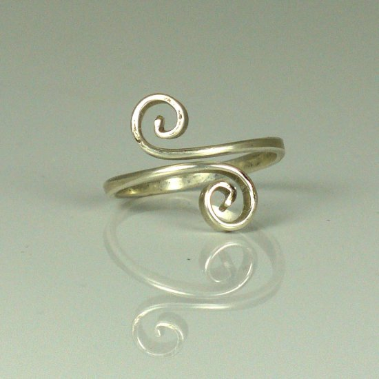 Adjustable Sterling Silver Scroll Ring
