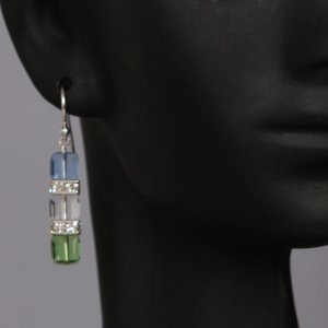 Tri-Cubed Swarovski Drop Earrings