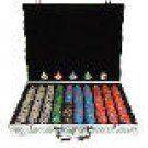 1000 Plastic Casino Poker Chips w/Aluminum Case