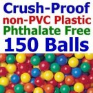 Free Shipping 150 pcs Standard Grade Crush Proof Plastic Ball Pit Balls 5 Colors 3&quot; Phthalate Free