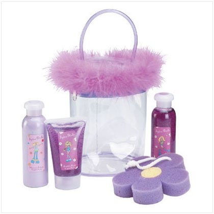 Sugar-Plum Bath Set In Boa Trim Bag