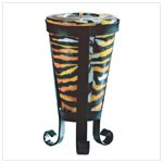 Tall Tiger Stripe Cone-Shaped Candle