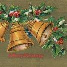 1909 c. Vintage Christmas Postcard Golden Bells Gold Background Embossed