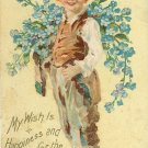 1907 c. Vintage New Years Postcard Boy with Blue Forget Me Nots Embossed