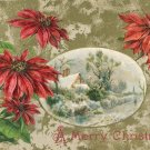 Vintage Christmas Postcard Winsch Back  Embossed Poinsettias framing snow scene Gold background