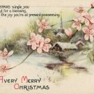 1917 Vintage Christmas Postcard Pink Christmas Roses Wolf and Co