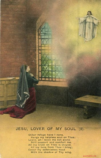 1910 Bamforth Hymn Series Postcard Jesu Lover of My Soul Series 4506 No. 2