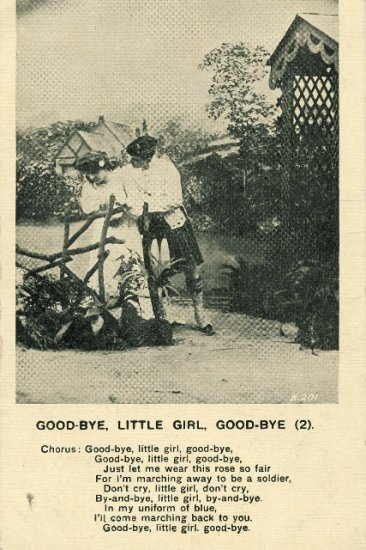 Vintage Romance Postcard Good Bye Little Girl man wearing kilt going off to be a soldier