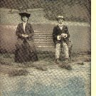 Vintage Romance Postcard Suspense Shy Couple on Bench