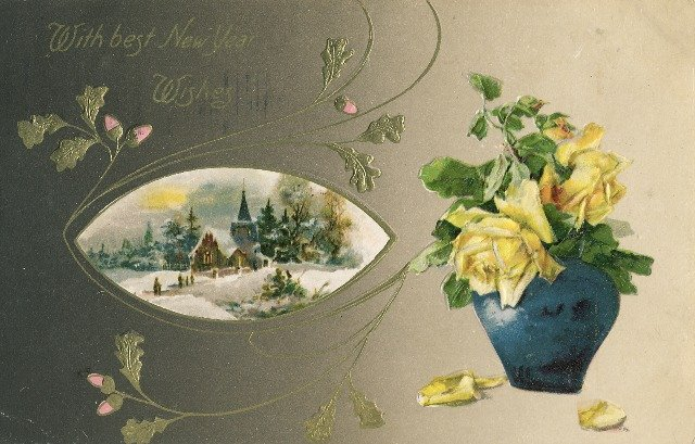 1910 Vintage Embossed New Years Postcard Winsch back Yellow Roses Snow covered church