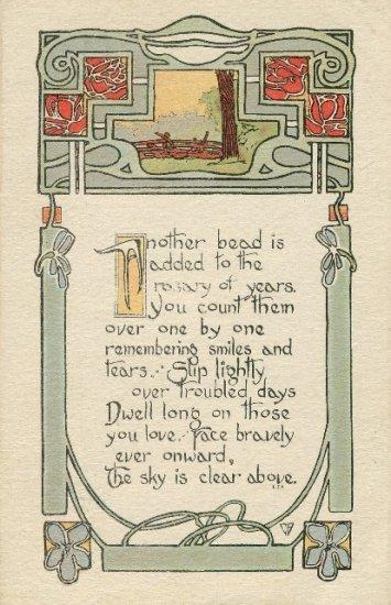 Vintage Birthday Postcard Beautiful Arts & Crafts Era Design. L.F. Pease