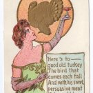 Vintage Thanksgiving Postcard Pretty Lady Turkey 1907
