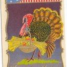 Patriotic Turkey with Basket of Plenty Vintage Thanksgiving Postcard