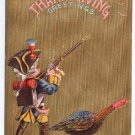 Boy Colonial Soldier Vintage Thanksgiving Postcard Turkey P Sander Embossed Gold Moire 1908