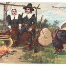 Pilgims Turkey Vintage Thanksgiving Postcard P. Sander 1908