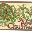 Vintage Christmas Postcard Winsch Back Embossed Gold Gilt Horseshoe Holly