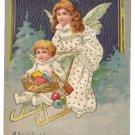 Tuck Angels Sled Vintage Raphaael Tuck Christmas Postcard ca 1907