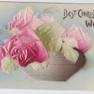 Embossed Christmas Roses Airbrushed 1907 Vintage Christmas Postcard