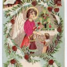 Silk Angel Children Toys ca 1907 Vintage Austrian Christmas Postcard