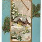 Cherubs Snowy Cottage Scene Gilded 1908 Vintage Christmas Postcard