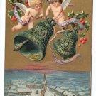 Cherubs Bells Gold P. Sander Embossed Vintage Christmas Postcard 1910