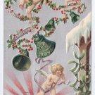 Cherubs Bells Silver Embossed Vintage Christmas Postcard 1907