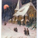 Church in Woods Embossed gilded Vintage Christmas Postcard 1908