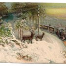 Deer Train Embossed Vintage Christmas Postcard ca 1910