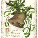 Clapsaddle Bell Mistletoe 1909 Vintage Christmas Postcard