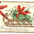 Clapsaddle Mistletoe Sled 1907 UND Vintage Christmas Postcard
