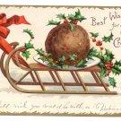 Clapsaddle Plum Pudding Sled 1907 UND Vintage Christmas Postcard
