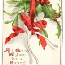 Artist Signed Ellen Clapsaddle Wishbones Mistletoe Holly 1908 Vintage Christmas Postcard IAP