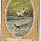 Deer Church in Snow Embossed gold Vintage Christmas Postcard ca 1918