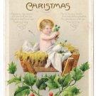Babe in Manger Infant Christ Child Embossed Nash Vintage Christmas Postcard 1914