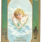 Angel Face on Wings gold Vintage Christmas Postcard ca 1918